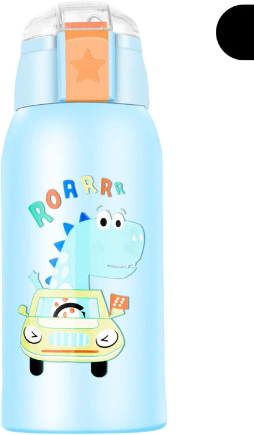 Botella Termo Botella Agua Termo Infantil Para Bebé Con Termo De Acero Inoxidable De Paja Linda Taza De Agua Hervidor Inteligente-Cubierta Inteligente Dinosaurio Azul_600Ml