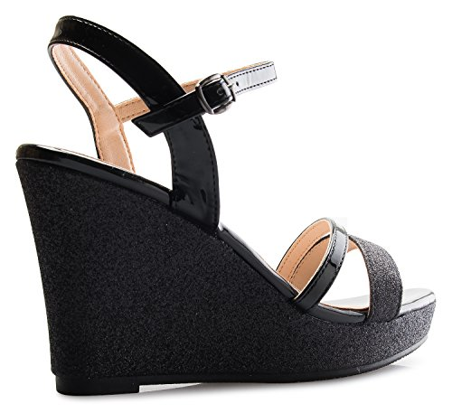 Sexy Platform Wedge Sandals Olivia Strappy Women's Black Glitter K 6HwOxA1E