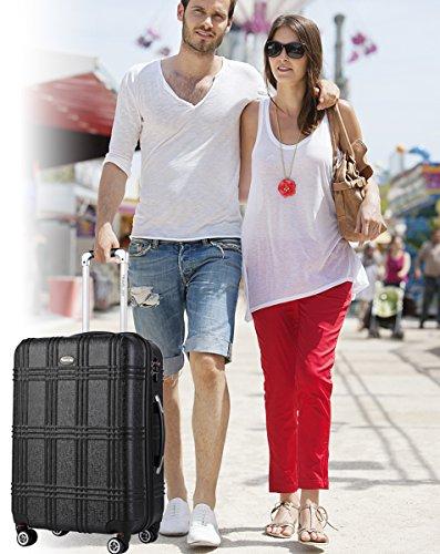 Expandable Spinner Luggage Set,TSA lightweight Hardside Luggage Sets, 20'' 24''28 inches Luggage (BLACK-1, 20 inches) by Travel Joy (Image #7)
