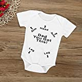 AMA(TM) Newborn Infant Baby Boys Girls Summer Letter Print Romper Jumpsuit Sunsuit Onesies Outfits (0-6M, White)