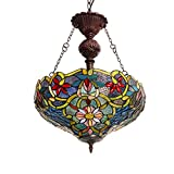 Akronfire Tiffany Style Lights for Decorate Dining Room Bedroom Stained Glass Flower Chandelier with 17 Inch