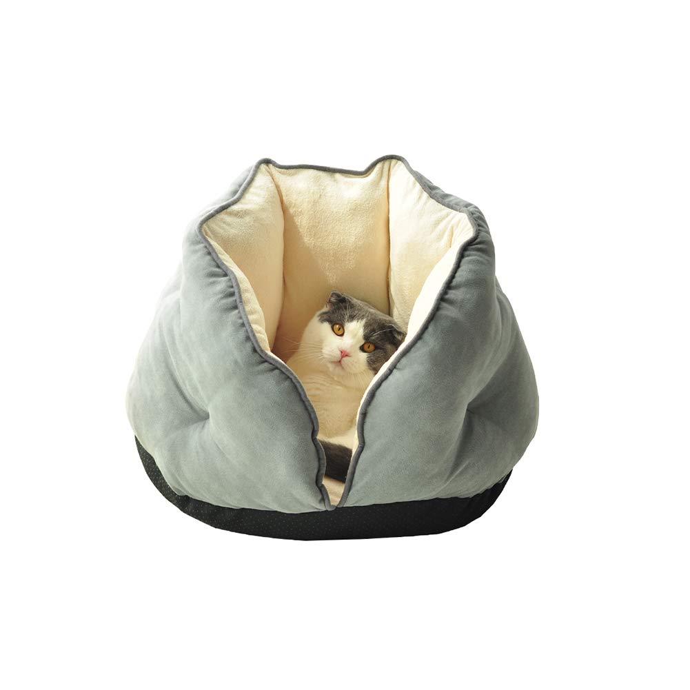 Light grey L Light grey L Cat Bed Plush Cat Bed Kennels Semi-Closed Pet Cat Warm Soft Bed Cushions (L, Light Grey)