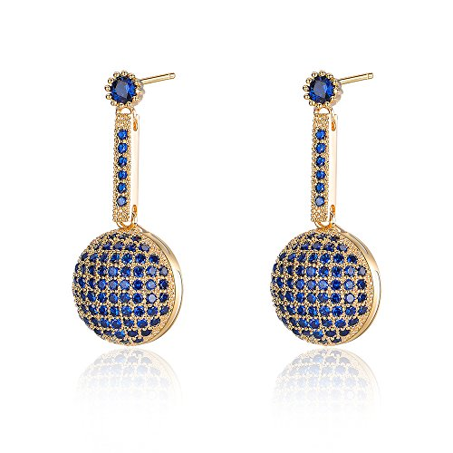 Dnswez Blue and Gold Marcasite Crystal Round Long Bar Shape Drop Dangle Earrings