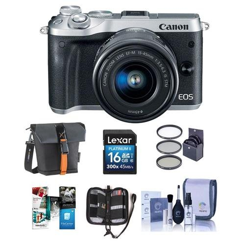 Canon-EOS-M6-Mirrorless-Digital-Camera-Silver-Kit-with-EF-M-15-45mm-f35-63-IS-STM-Lens-Bundle-with-Holster-Case-16GB-SDHC-Card-Memory-Wallet-Cleaning-Kit-49mm-Filter-Kit-Software-Package
