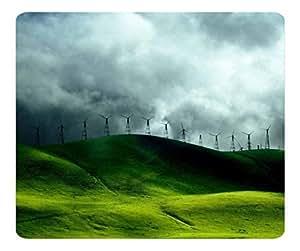 Decorative Mouse Pad Art Print Landscape and Plants Turbines For Clean Energy