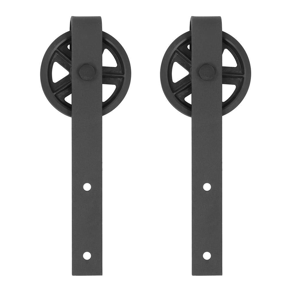 8FT//244cm Riel de la Puerta de Granero Juego de Rieles Deslizantes de Armario Gabinete Herrajes Deslizantes de Puerta de Madera Riel Corredizas para Puerta Corredera Acero al Carbono Negro