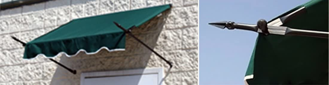 Window Awning or Door Canopy with Spear Supports 4 Wide in Sunbrella Fabric – Green