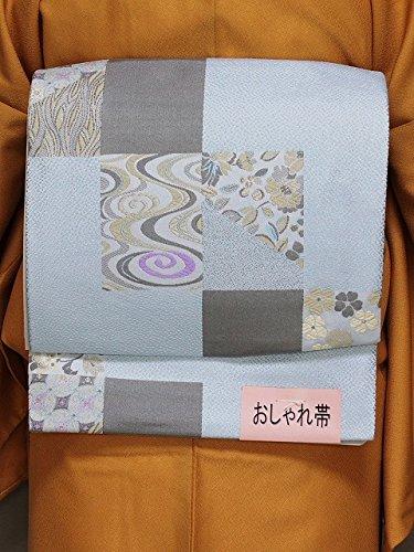 マティスネクタイ金銭的な作り帯 名古屋帯 お太鼓結びです 簡単に帯付け 軽装帯 水色の帯 D5381-27