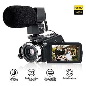 """LESHP Videocámara Digital con Micrófono Externo,Cámara de Vídeo FHD 1080P 24MP, IR Visión Nocturna, 16X Zoom Digital, Pantalla LCD Táctil 3.0 """" Rotación de 270 °"""