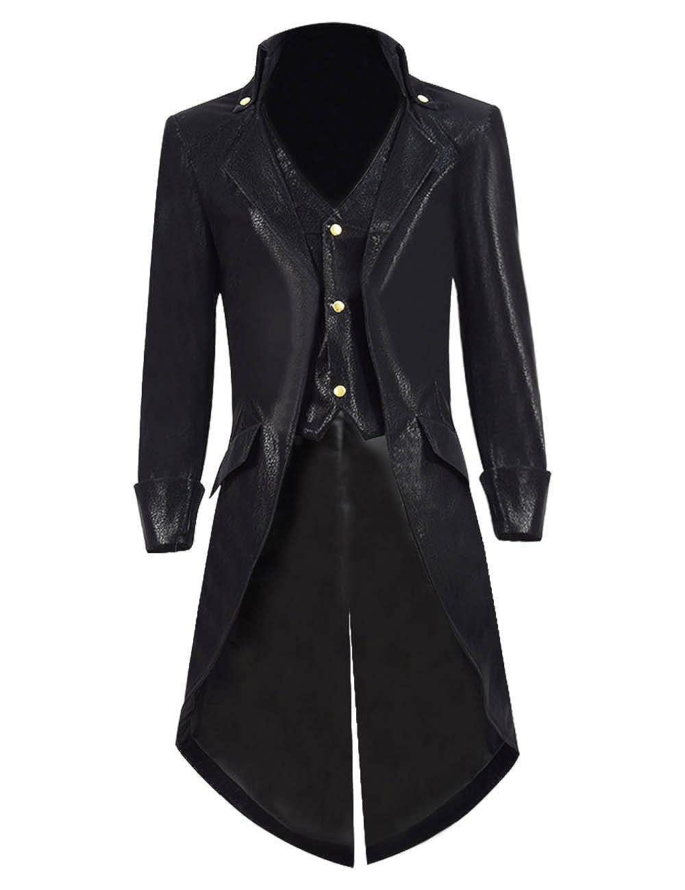 e71cbe299811 Amazon.com  BelieveME Kid s Steampunk Jacket Tailcoat Gothic Costume  Halloween PU Long Coat  Clothing