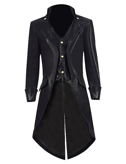 3ca1884222be BelieveME Kid s Steampunk Jacket Tailcoat Gothic Costume Halloween PU Long  Coat (Little Boys 4