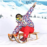 Gaozh Snow Sledges Sleigh Reinforcement Bold Wooden Material Sled for Children and Adults Winter Ski