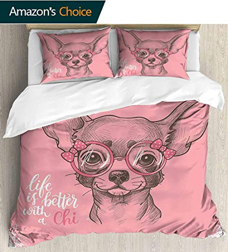 (shirlyhome Dog Cotton Bedding Sets,Girl Chihuahua Sketch Illustration with Quote Fashion Glasses Ribbons Puppy Bedding Set for Teen 3PCS 90