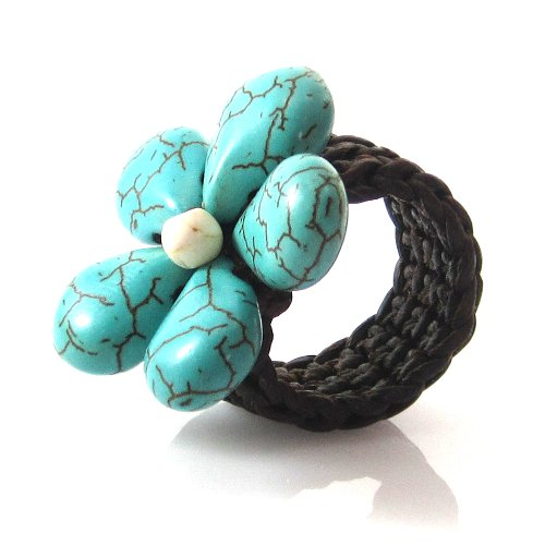 MGD, Blue Turquoise Color Bead – White Howlite Color Bead Ring, Beautiful Handmade Floral Ring, Wax Cord Ring, Adjustable Flower Ring, Fashion Jewelry…