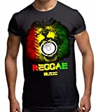 Men's Rasta Reggae Music Lion T Shirt Black L
