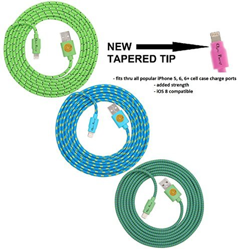 NEWLY DESIGNED High Quality - 6ft(2m) Braided Nylon Lightning Charging Cables for Apple iPhone 5 5C 5S, iPhone 6 6 Plus, iPad 4 Mini, iPod Touch 5/Nano 7, 8 pin to USB - 3pack(green-teal-blue)