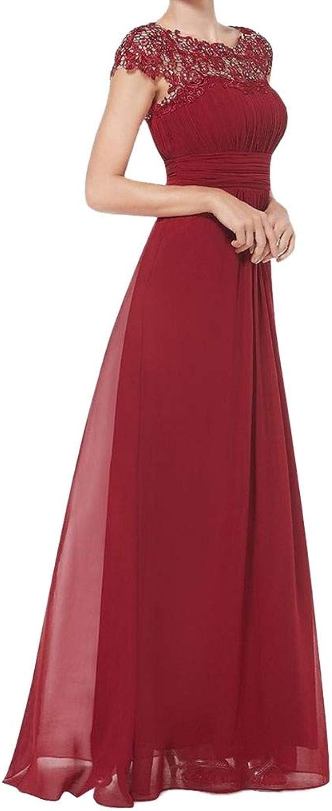 JYJM Abendkleider lang Strickkleid Frauen Floral Formale Spitze Vintage  Kurzarm Schlank Hochzeit Maxi Kleid Elegant Kleid Damen àrmellos  Unregelmässig