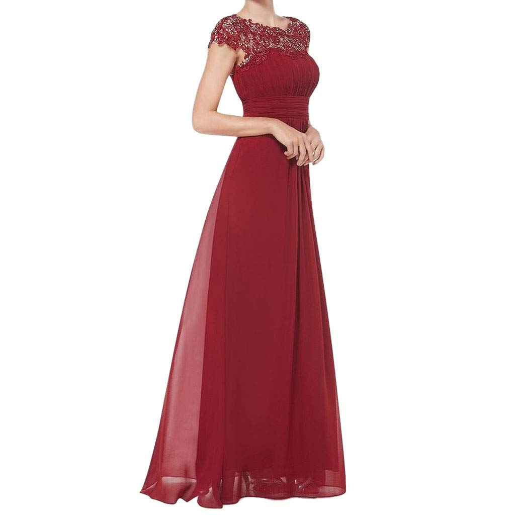 Women's Lace Cap Sleeve Long Chiffon Evening Dress Elegant Illusion Neckline Prom Cocktail Maxi Evening Party Swing Dresses Saihui