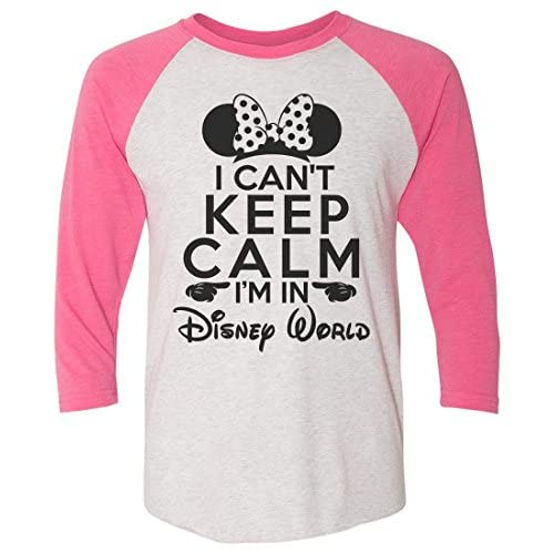 "0516c12a Funny Threadz Womens Disney World Raglan- ""I Can't Keep Calm I'm In ..."