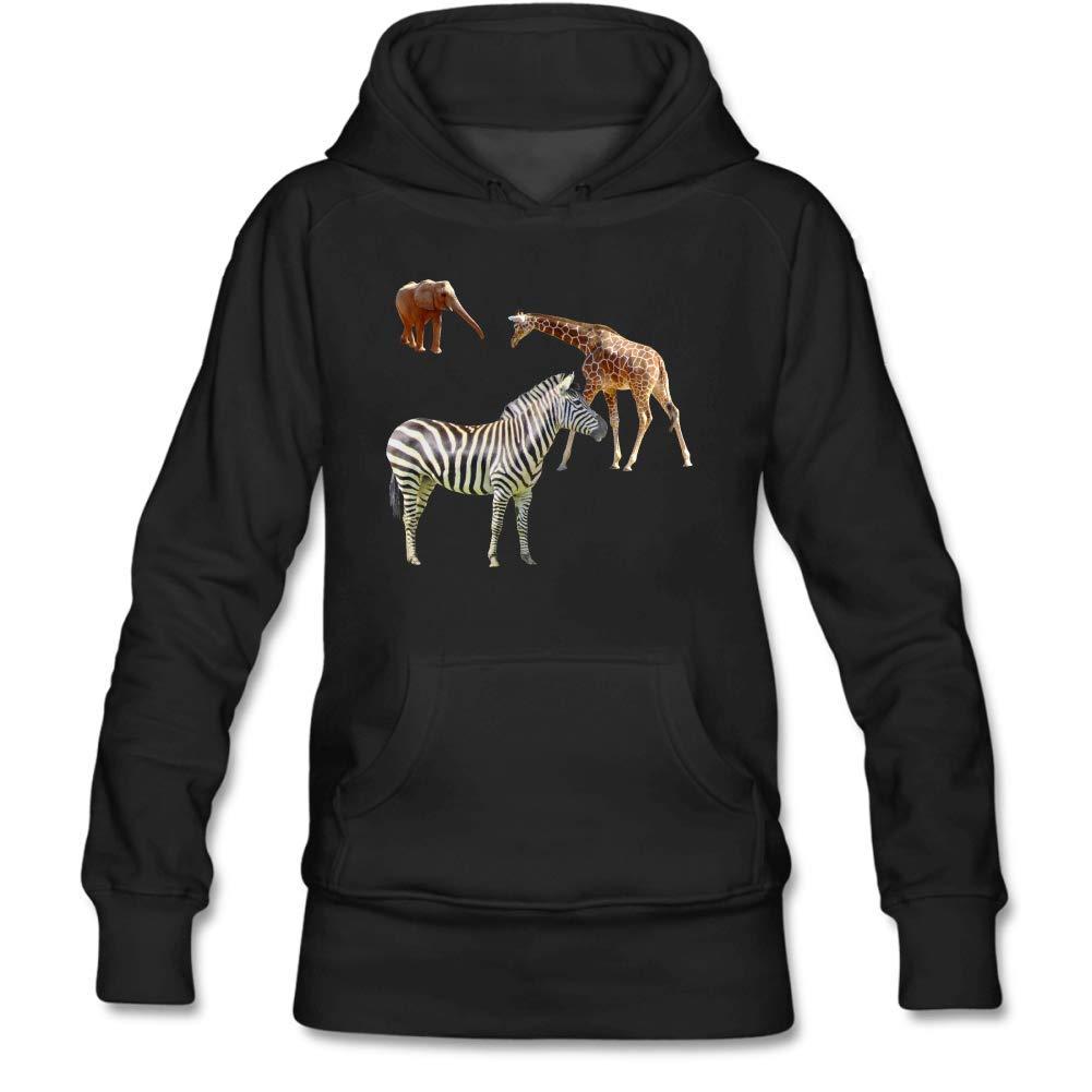 Womens Zebra Elephant Giraffe Long Sleeve Black Cotton Hooded Sweatshirt Personality Funky