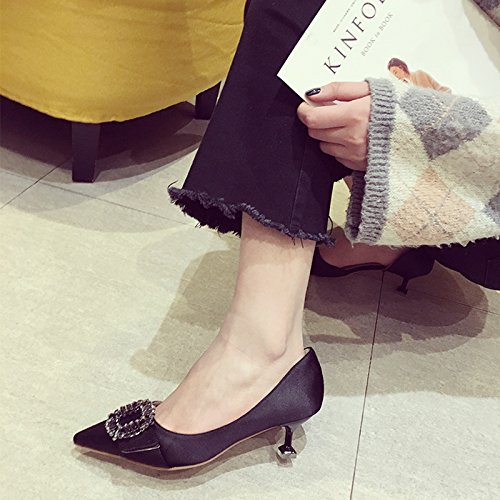 Shoes 35 Fine Banquet Sweet Ladies With Shoes Black Lady Shallow Leisure Point 5 MDRW Work Shoes Elegant Rhinestones Empty A 5Cm Spring Side Mouth Shoes 0SxqpT