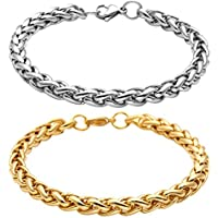 EasySo 2Pcs 7MM Stainless Steel Link Bracelets for Men Women Wheat Chain Bracelet 8 Inches Gold & Silver