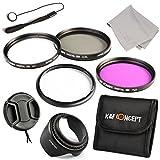 58mmFilter Kit, K&F Concep UV CPL FLD + Adapter Ring for Canon Power Shot SX50 + Lens Hood + Lens Cap/Keeper + Microfiber Cloth+ Filter Bag