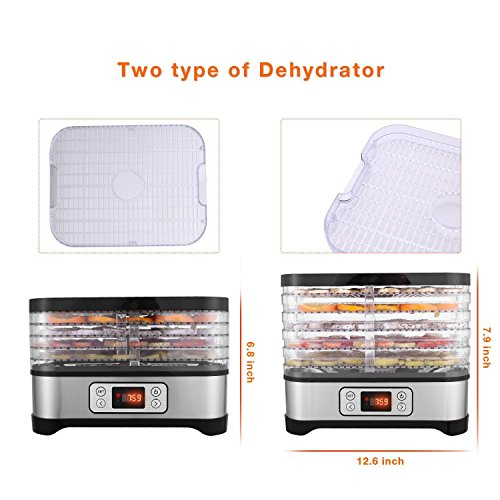 Food Multi-Tier Electric Dehydrator with 5 Stackable Digital Temperature and Timer Beef Fruit )