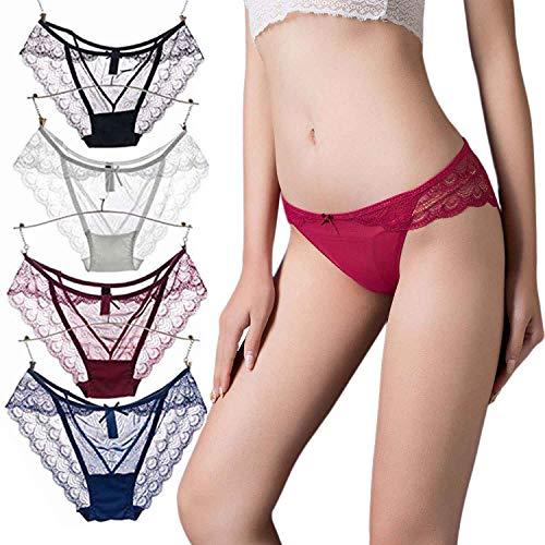 3c5de22ce62 Vivilover Women s Sexy Lingerie Underwear Lace Thong Hipster Panties Pack  ...
