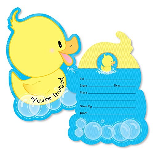 Ducky Duck - Shaped Fill-in Invitations - Baby Shower or Birthday Party Invitation Cards with Envelopes - Set of -