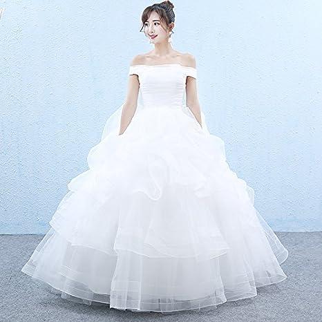 Un hombro encaje sujetador de boda boda Slim Fit vestido de novia boda large blanco: Amazon.es: Hogar