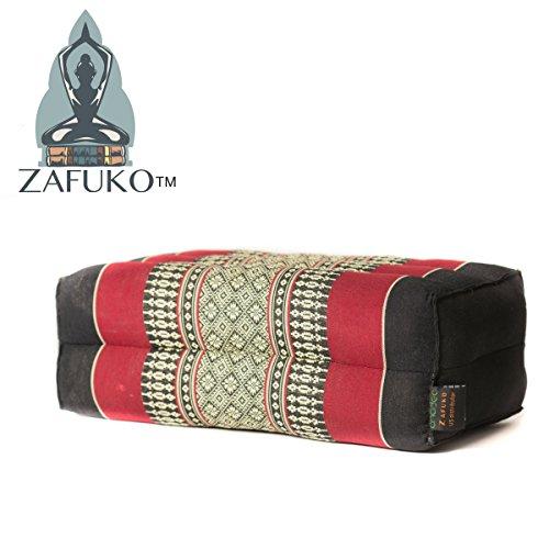 Zafuko Yoga, Meditation, Kundalini and Pilates Cushion (Zafu) Block, Bolster, Floor Pillow, Prop 100% Organic Kapok Fiber Filling – Small Block (Black & Red)