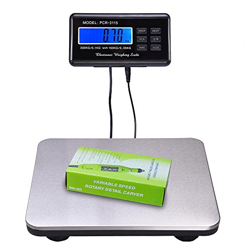660lbs LCD AC Digital Floor Bench Scale Postal Platform Shipping 300KG Weigh (Floor Bench)