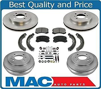Front Brake Rotors+Metallic Pads /& Rear Brake Drums+Shoes For Lancer Mitsubishi