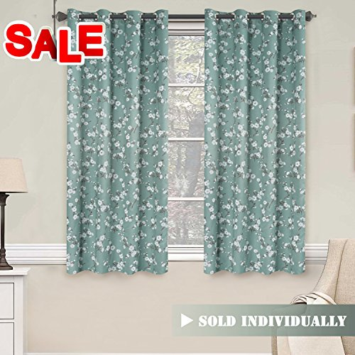 Aqua Floral Print Blackout Curtain for Bedroom - Thermal Insulated Ultimate Soft Textured Grommet Window Treatment Panel for Living Room, 52