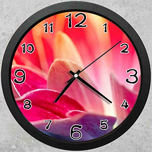 (47BuyZHJX 10-inch Round Decorative Wall Clock (Black),Backdrop Pattern - Flowers Petals Pink Red,Home School Office Wall Clock.)