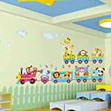 Golden Cart Animal Toy Train Starting Journey with Music Wall Sticker for Kids Room (PVC Vinyl, Multicolour, Finished Size on Wall: 200x45 cm)