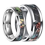 Tungsten Camo Ring for Men Summer Leaves Camouflage Inlay Wedding Band (Women's (6 mm), 10.5)