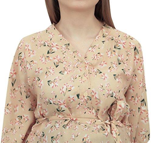 Floral Moms Maternity Print Dress Beige Maxi Kaftan Chiaro Kimono Bimba Sleeve ptRnTTq