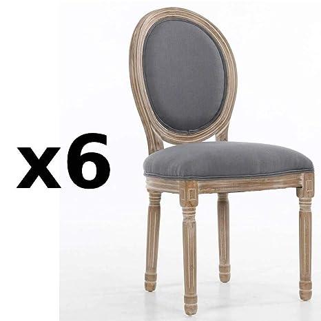 Inside Lote de 6 sillas medallón Versalles Estilo Louis XVI ...