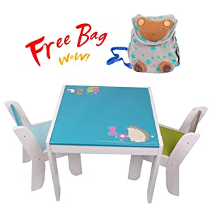 labebe Wooden Activity Table Chair Set, Blue Hedgehog Toddler Table for 1-5 Years, Baby Table Toy/Table Baby/Room Table/Learning Table Cover/Kid Bedroom Furniture/Child Furniture Set/Kid Desk Chair
