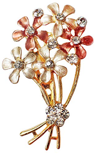 (Bijoux De Ja Gold Tone Enamel Rhinestone Faux Pearl Floral Bouquet Woman Brooch Pin (Rose Gold))
