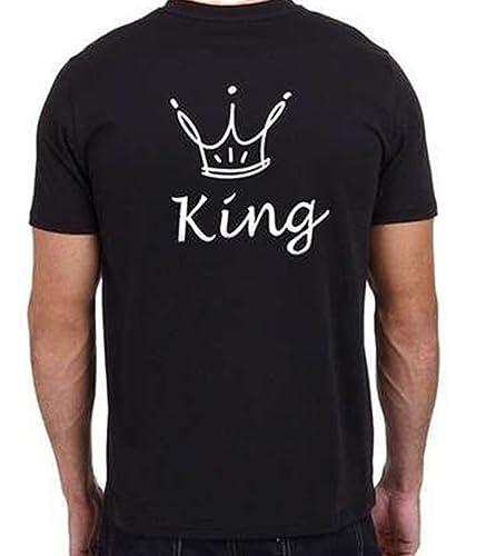 ZKOO Camisetas de Parejas King and Queen Corona Impresión de Camisetas de Manga Corta Hombre y Mujer...