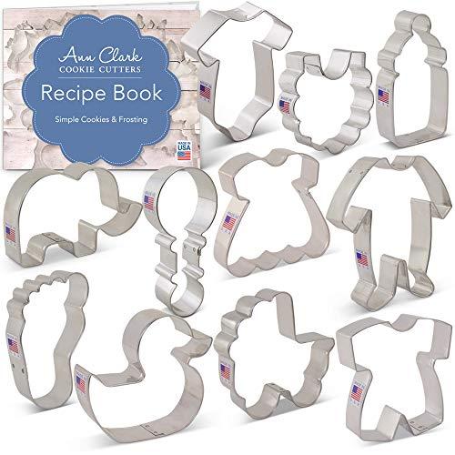 Baby Shower Cookie Cutter Set with Recipe Booklet - 11 piece - Onesie, Bib, Rattle, Bottle, Carriage, Foot, Footie PJs, Dress, Romper, Duck & Elephant - Ann Clark - USA Made Steel