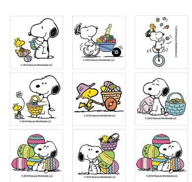 (Peanuts Easter Tattoos ~ Snoopy with Woodstock in Easter & Spring Poses (12 Temporary)