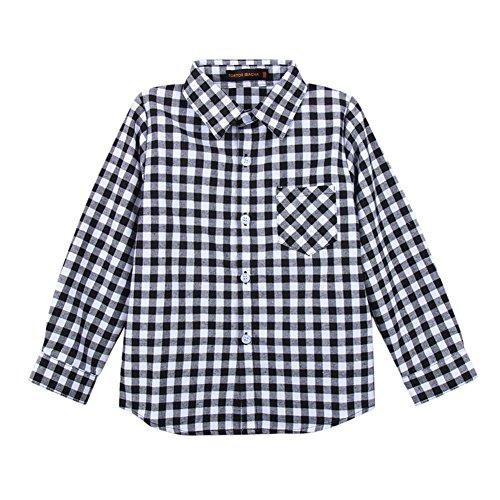 Tortor 1Bacha Kid Girl Boy Long Sleeve Button Down Plaid Flannel Shirt (Gingham Black, 3 Years) (Boys Black Gingham Shirt)