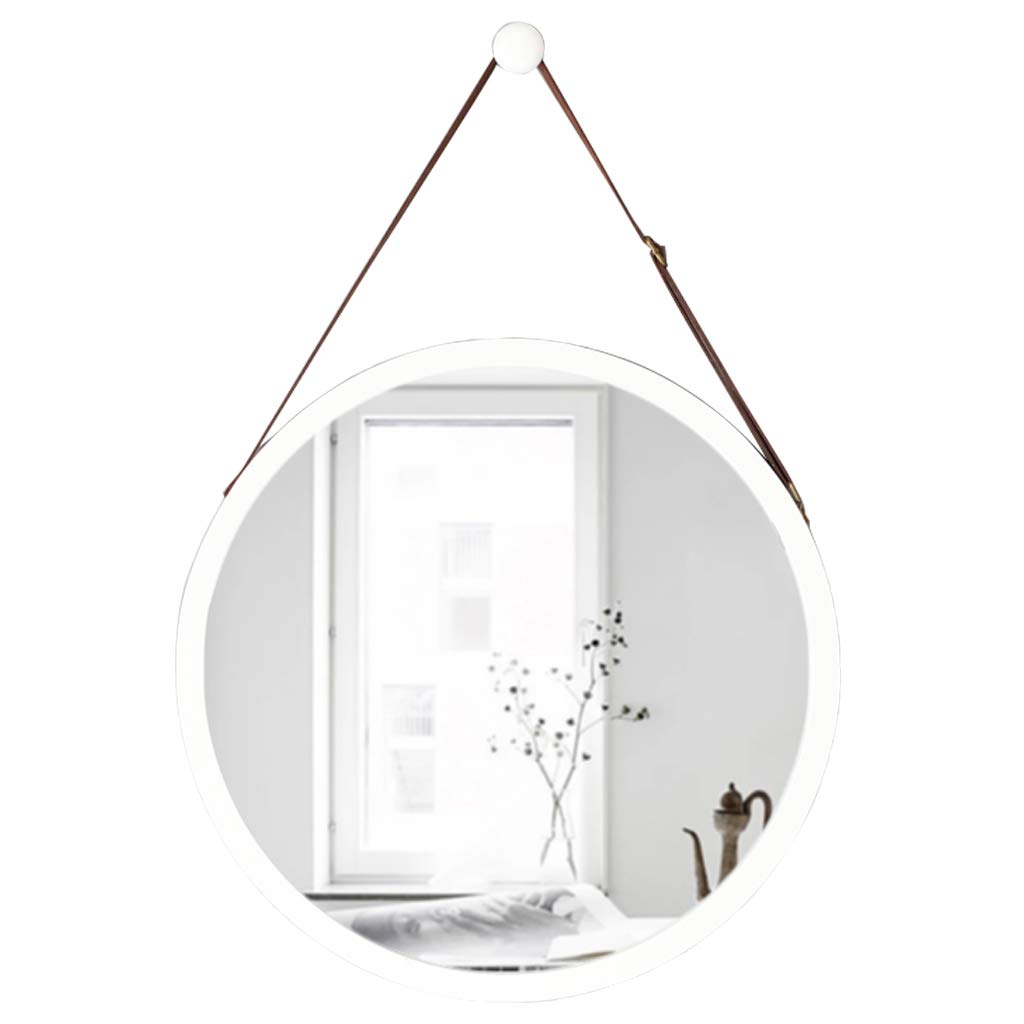 White Φ45cm(17.7″) Contemporary Wall Mirror with Adjustable Hanging Strap   Bamboo Framed   Vanity Mirror Wall Decor (15″ 17.7″)