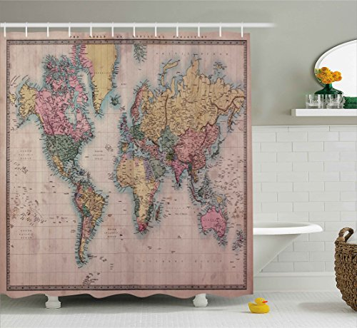 Ambesonne Wanderlust Decor Collection, Original Old Hand Colored Map of the World Anthique Chart for Old Emperors Art Print Decor, Polyester Fabric Bathroom Shower Curtain Set with Hooks, (Map Fabric Chart)