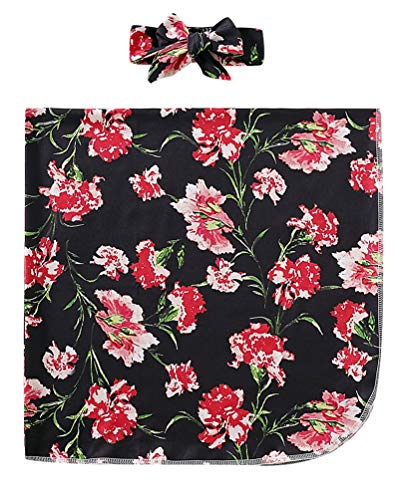 COLOOM Newborn Receiving Blanket Headband Set Gorgeous Flowers Print Baby Swaddle Receiving Blankets (Black, 0-6Months)