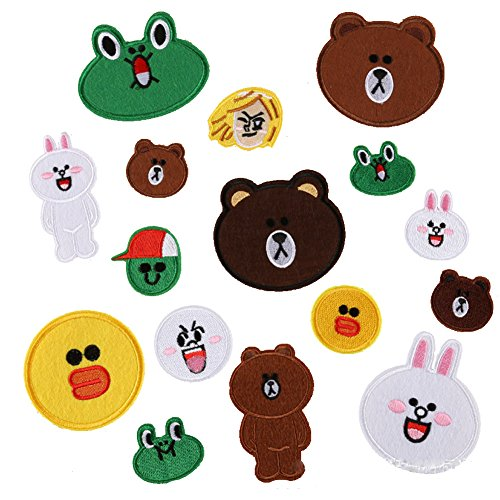 Lightbird Cute Bear Iron on Patches 16 Pieces, Appliques Decorative Patches, Cartoon Rabbit Frogs Bear Sew on Patches for Clothing, Jeans, Hat, Jackets and ()
